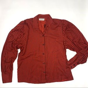 Red Black Vintage Houndstooth Puff Sleeve Blouse